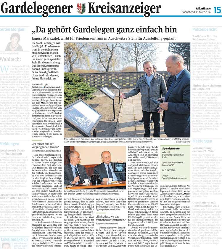 Miasto Gardelegen w Saksonii-Anhalt wspiera Kopiec